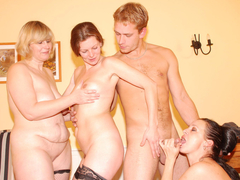 Horny housewives sharing a guy