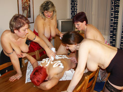 Five horny matures having a lesbian sexparty