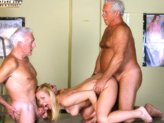 Young horny doll is keen to get banged by this old dude with a colossal member in many positions